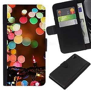 KingStore / Leather Etui en cuir / Sony Xperia Z2 D6502 / Navidad borrosa Noche de Invierno