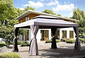Grand Patio 10×13 Feet Patio Gazebo, Outdoor Canopy with Mosquito Netting and Shade Curtains Sturdy Straight Leg Tent for Backyard Party Event, Gray