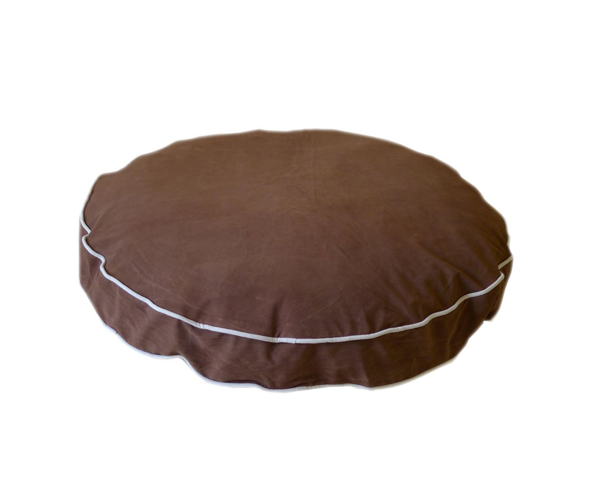 CPC Microfiber Round About Chocolate Pet Bed with Linen Piping, 27 x 4-Inch