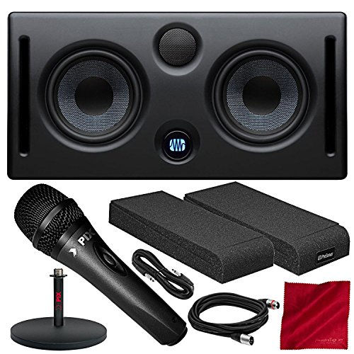 PreSonus Eris E44 Active MTM Nearfield Monitor with Xpix Dynamic Cardioid Vocal Microphone, Monitor Isolation Pads, and Deluxe Bundle