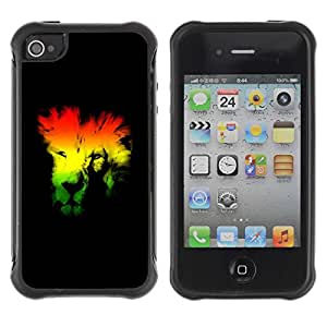 Planetar® ( Rasta Lion ) Apple iPhone 4 / 4S Hybrid Heavy Duty Shockproof TPU Fundas Cover Cubre Case