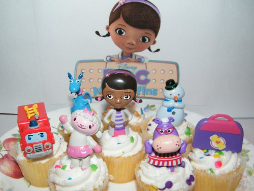Disney Doc McStuffins Figure Deluxe Cake Toppers / Cupcake Party Favor Decorations Set of 7 with Doc, Lambie, Chilly, Stuffy,Hallie, Fire Truck and More! by Doc McStuffins