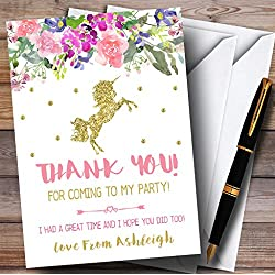 Floral Gold Unicorn Party Thank You Cards