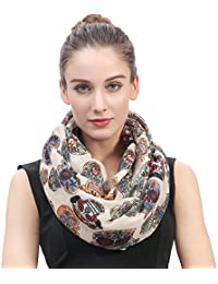 Day of the Dead Sugar Skull Print Women's Infinity Scarf Lightweight