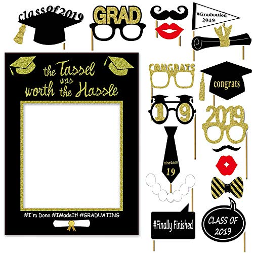 2019 Graduation Photo Booth Props Glitter Congratulations Graduation Party Decorations Class of 2019 Grad Photo Booth Frame Graduation Party Supplies Party Favors DIY Kit ()