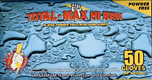 Emerald Total Max High Risk Latex Powder-Free Exam Gloves 15 mil Large, Case (10 BX/CS) by Emerald