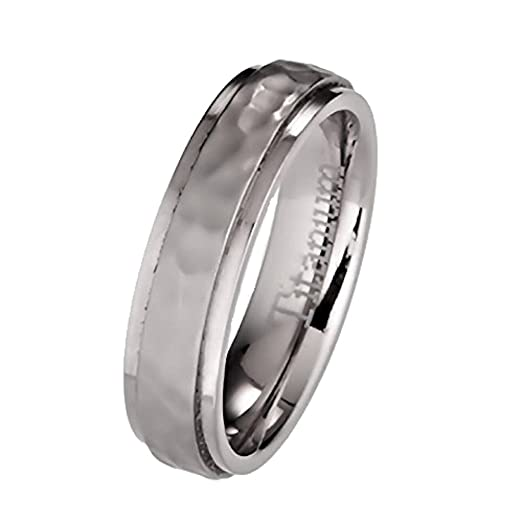 5mm Hammered Titanium Wedding Ring Recessed Edges Comfort Fit Band Size 5