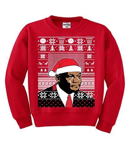 (Wild Bobby Crying Jordan Meme | Kids Unisex Ugly Christmas Crewneck Graphic Sweatshirt, Red, Medium)