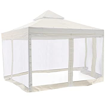 10 x 10 ft Gazebo Top Replacement with Side Screen Netting Ivory White by Newleaf  sc 1 st  Amazon.com & Amazon.com : 10 x 10 ft Gazebo Top Replacement with Side Screen ...