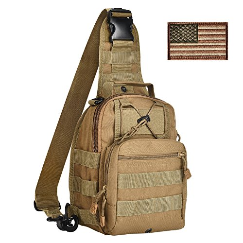 26a5f256d1 CVLIFE Sling Pack Bag Outdoor Tactical Backpack Chest Pack with American  Flag Velcro Patch Tan