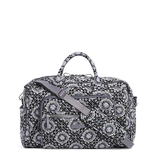 (Vera Bradley Iconic Compact Weekender Travel Bag, Signature Cotton, Charcoal Medallion)