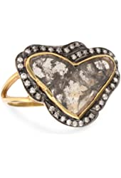 "Fine Jewelry by Kevia ""Byzantium"" Heart Shaped Rough Cut Diamond Ring, Size 7"