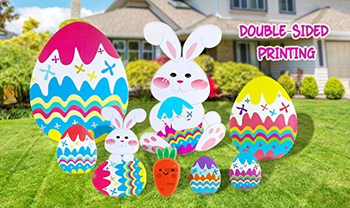 Jumbo Easter Decorations Yard Signs Outdoor Bunny, Easter Eggs And Carrot Yard Signs with Stakes for Easter Hunt Game, Easter Props - 8 -