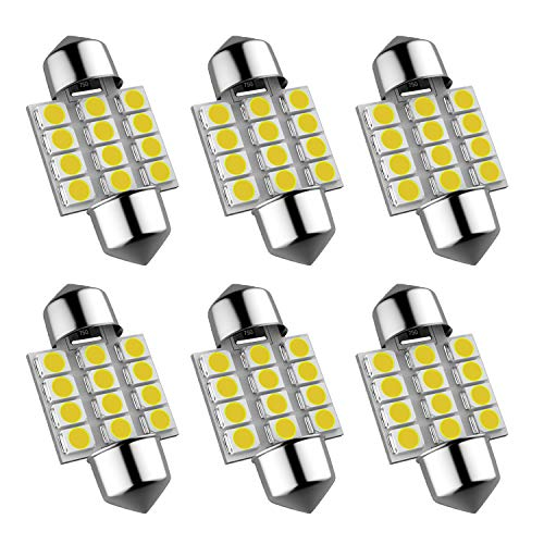 6Pcs 600 Lumens Super Bright 31mm Festoon Led Bulb, 12-EX Chipsets 3175 LED, De3021 De3175 Fit for Interior Map Door Dome lights