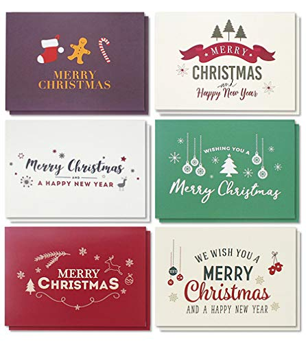 48-Pack Merry Christmas Greeting Cards Bulk Box Set - Winter Holiday Xmas Greeting Cards with Retro Modern Designs, Envelopes Included, 4 x 6 Inches