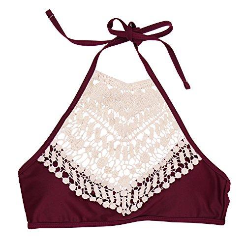 iBaste Damen Sexy Sommer stricken mit Spitze zweiteiligen Badeanzug Bikini