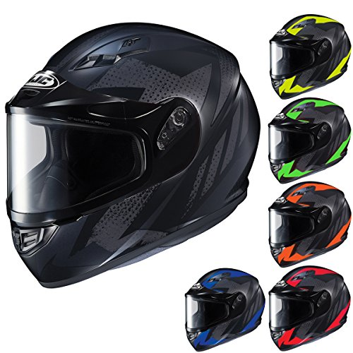 (HJC Helmets CS-R3SN TREAGUE Unisex-Adult Full Face Snow Helmet with Framed Dual Lens Shield (Black/Neon Red, Medium))