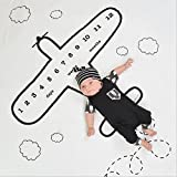 Baby Monthly Milestone Photo Blanket | Baby Shower Gift (Airplane, Standard)