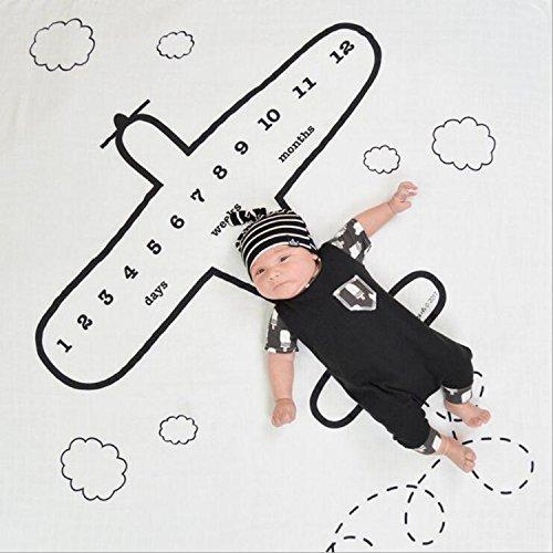 Baby Monthly Milestone Photo Blanket   Baby Shower Gift (Airplane, Standard)