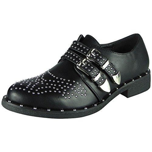 Low 3 Comfy Buckle Womens Studded Fashion Shoes Ladies 8 LoudLook Stud Slip Black Heel On Flats nx8XOwX