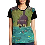 Sister Home Girl Cat Loves Fish Special Raglan Tee Shirt For Party