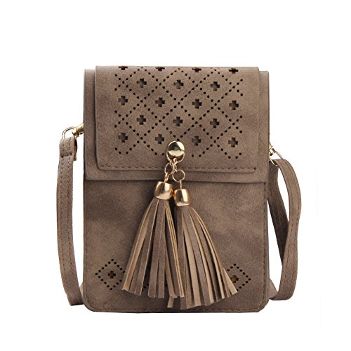 Phone Deep Girls Bag Women Compartment Double Apricot Crossbody s Tassel Teen Small for with Purse rp7Zr