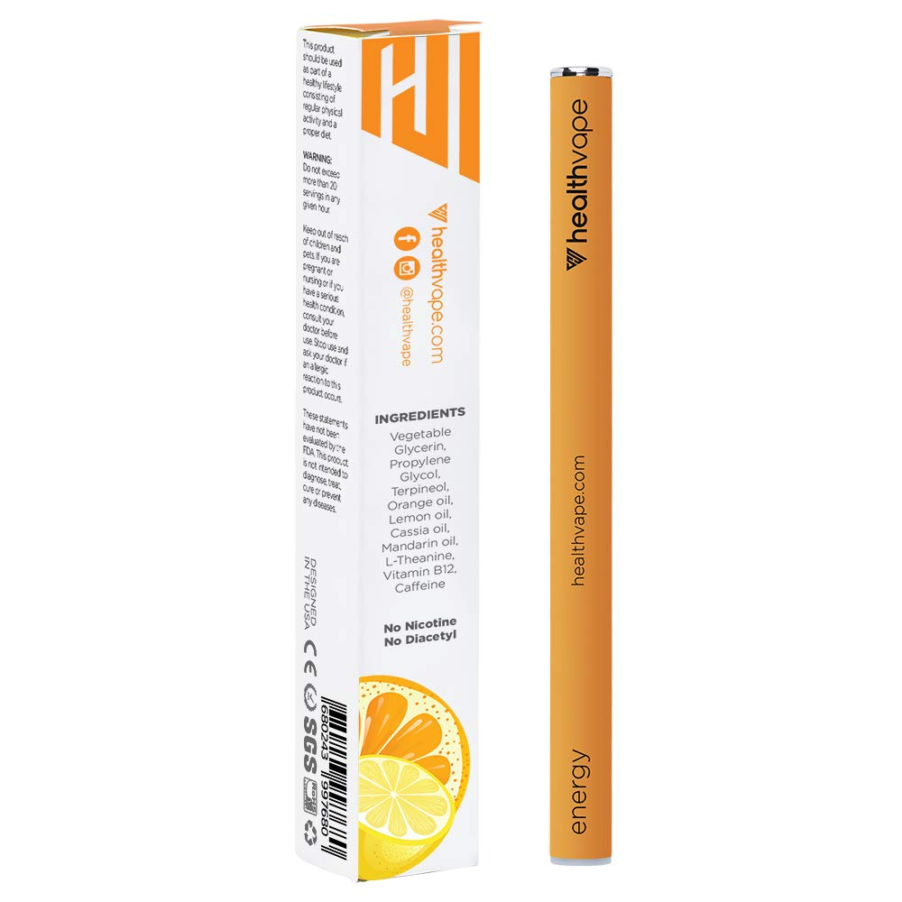 Energy Caffeine Vitamin B12 Energy Inhaler Pen with Orange and Cassia Oils L-Theanine – Citrus Flavored Daily Vitality Supplement – 5 Pack