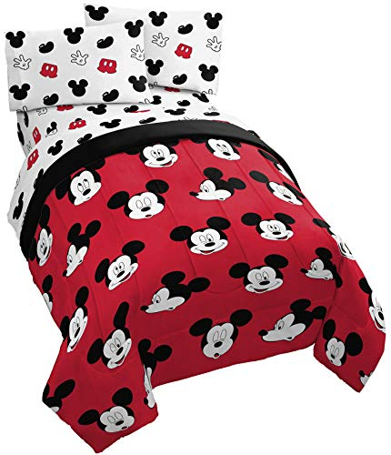 Jay Franco Disney Mickey Mouse Cute Faces 4 Piece Twin Bed Set - Includes Reversible Comforter & Sheet Set - Super Soft Fade Resistant Polyester - (Official Disney Product) ()