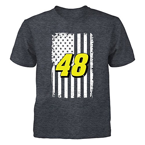 T-shirt Johnson Racing Jimmie (Jimmie Johnson Flag Pride Grey Youth Tee - Officially Licensed Sports Apparel)