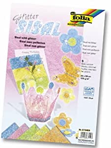Folia 870409 - Sisal con brillo (135 g/m², 23 x 33 cm, 5 hojas en colores pasteles surtidos) [Importado de Alemania]