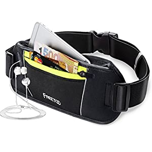 FREETOO Running Belt Workout Fanny Pack Running Bag Waist Pack for iphone 7/6s Plus/6 Plus/6s/6,galaxy S5,s6,note 4/5 (Black and Green) Slim