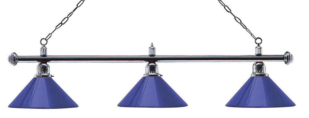 Billardlampe London 3fach Chrom Blau