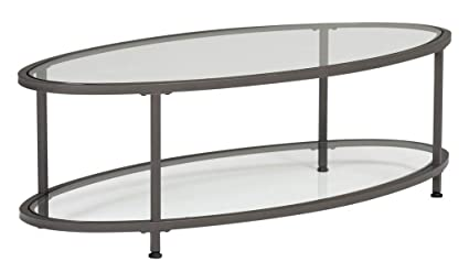 Oval Coffee Table With Shelf.Amazon Com Metal Coffee Table With Glass Top Oval Coffee Table