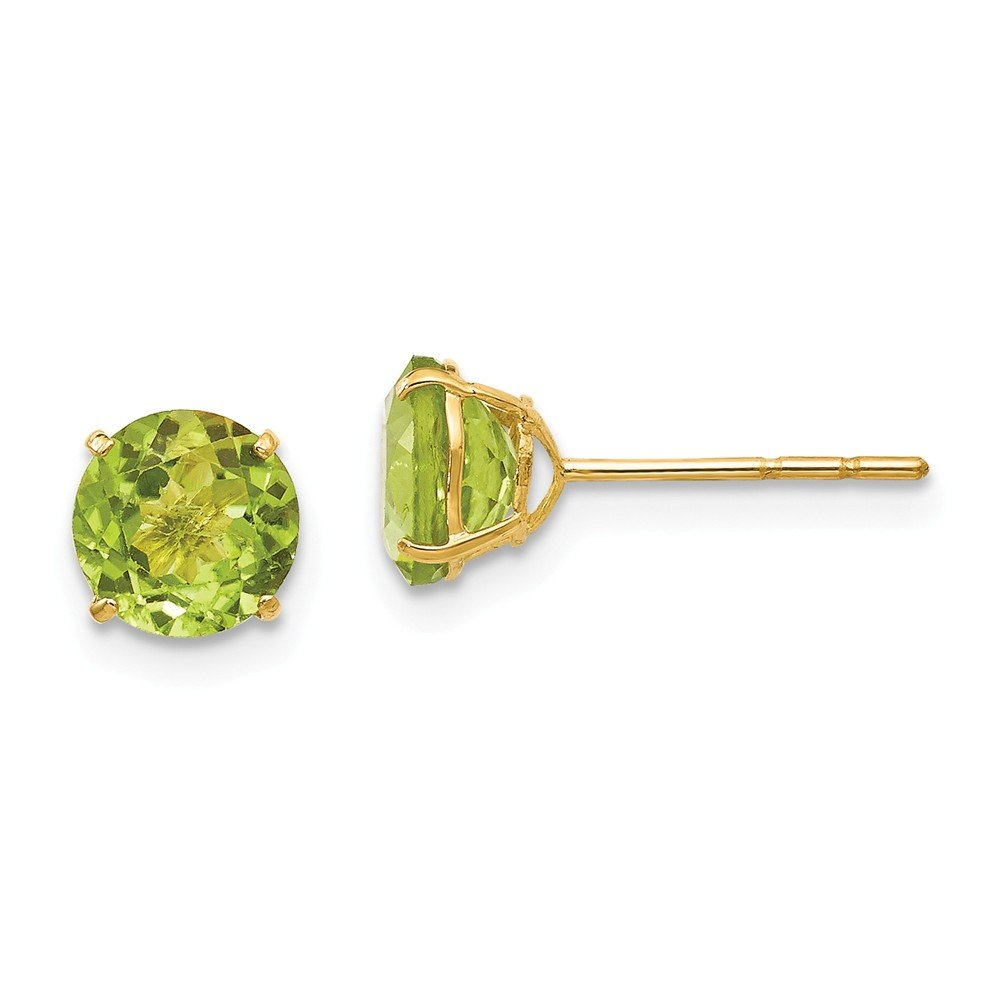 14K Yellow Gold Madi K 6mm Round Peridot Post Earrings