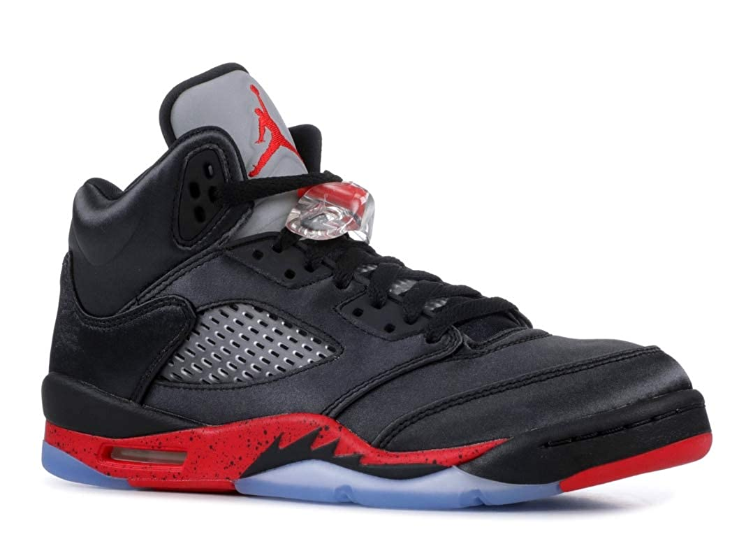 7d70b96f728 Amazon.com | Nike Air Jordan 5 Retro Grade School Satin Black/University  Red 440888-006 (Size: 4Y) | Fashion Sneakers