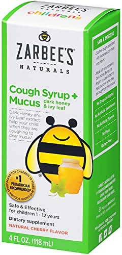 Zarbee's Naturals Children's Cough Syrup + Mucus with Dark Honey & Ivy Leaf, Natural Cherry Flavor, 4 Ounce Bottle