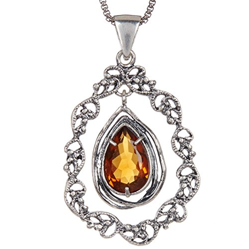 (Paz Creations.925 Sterling Silver Citrine Lace Teardrop Necklace, Made in Israel)