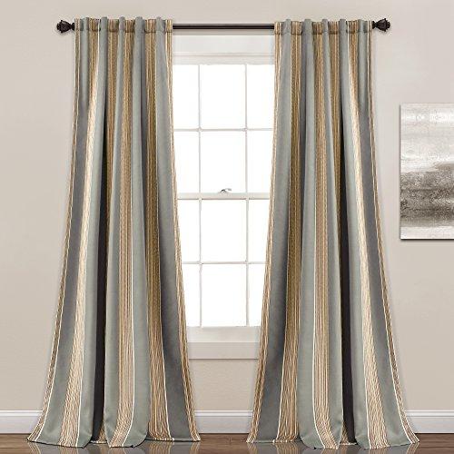 "Lush Decor Julia Stripe Room Darkening Window Curtain Panel Pair 84"" x 52"" Gray"