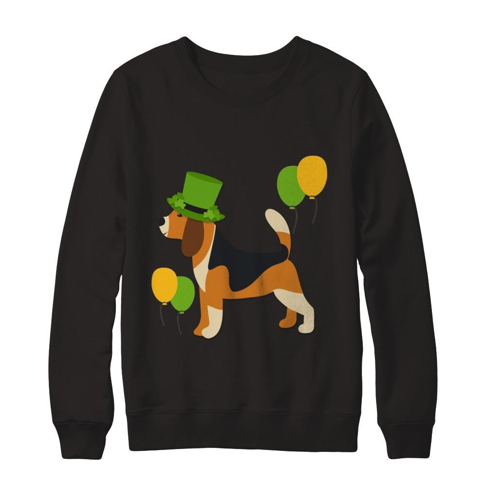 Teely Shop Mens Cute Beagle Saint Patricks Day Funny Tshirt Gildan Pullover Sweatshirt