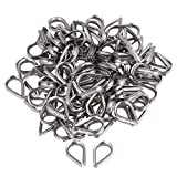 Yibuy 100x Cable Winch Wire Loop Thimble Marine Boat M3 Stainless Steel