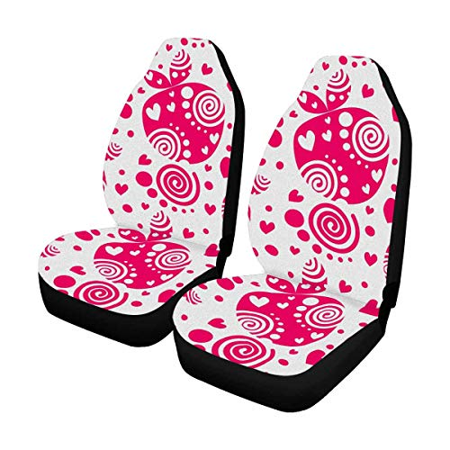 INTERESTPRINT Pink Decorative Ornamental Beautiful Strawberries and Dots Car Seat Cover Front Seats Only Full Set of 2, Vehicle Seat Protector Car Mat Covers, Fit Most Cars, Sedan, Truck, SUV, Van