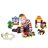 90 Piece Farm Themed Interconnecting Building Bricks Set with Horses, Figurines, Tractors, a Dog and other Assorted Shapes and Pieces by Dimple