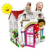 UC Global Trade Inc Princess Playhouse for Creative Coloring – Cardboard House for Kids and Additional Sticker Decorations. 3.75 feet Tall with Easy Assembly