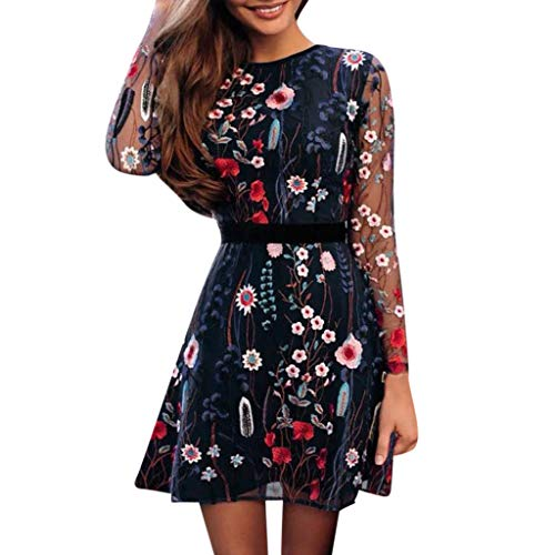 UONQD 2019D New Dresses, Women's Fashion Floral Embroidered Party Dress Lace Mesh Double Layer Mini Dress Blue