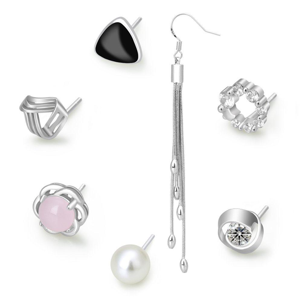 b983f2b3c Pearl Earings for Womens Silver Studs, L. Amour 7 Pairs of Different  Earrings with Pearl, Pink Stone for Week Series Set.: Amazon.co.uk:  Jewellery
