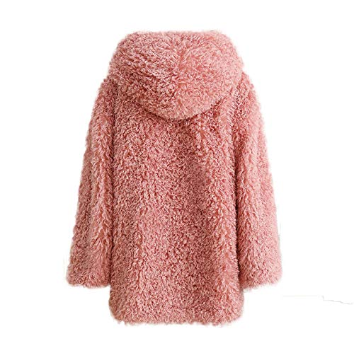 - Fashion Faux Shearling Jacket Warm Long Sleeve Lapel Zip Up Shaggy Oversized Coat with Pockets (Pink, S)