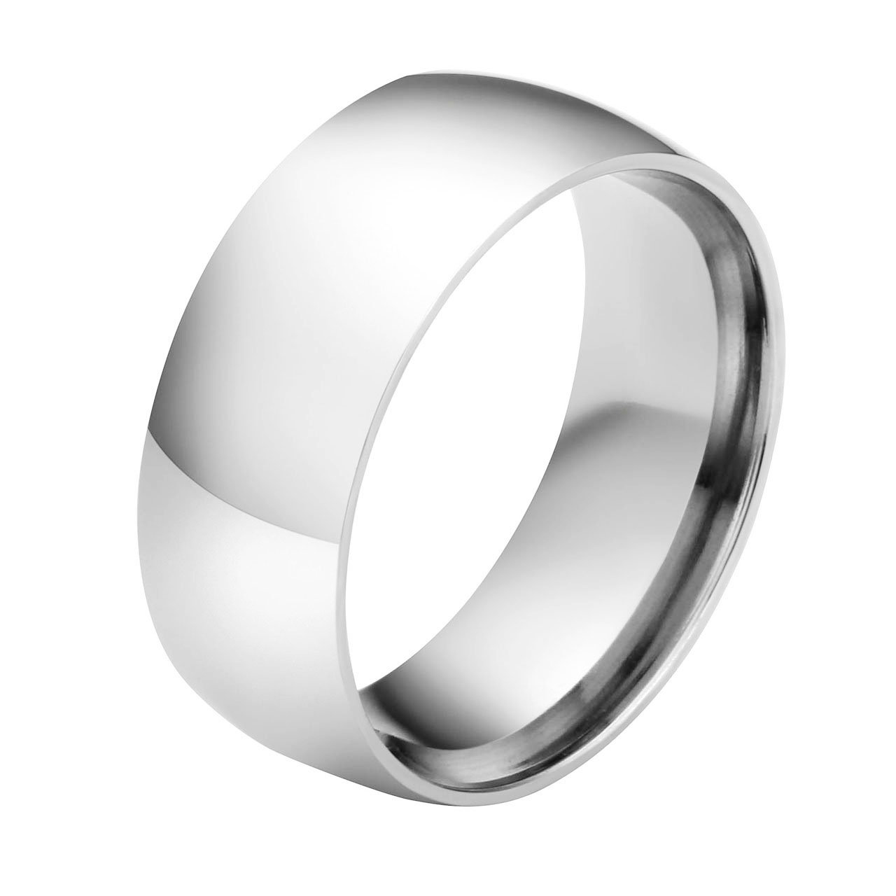 Jovivi Custom Band Rings - Personalized Name Message Engraved 8mm Stainless Steel Classic Silver Ring Engagement Wedding Band by Jovivi (Image #1)