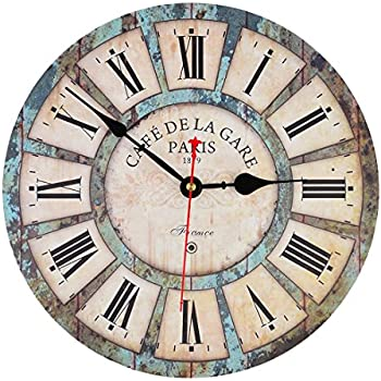 12 vintage france paris colourful french country tuscan style paris wood wall clock. Black Bedroom Furniture Sets. Home Design Ideas