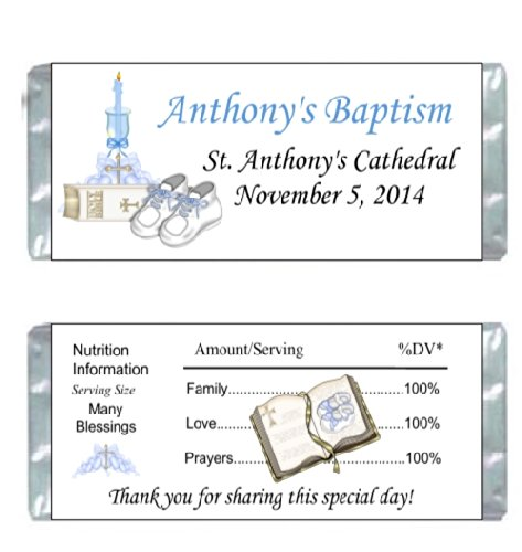 50 Baptism Confirmation First Holy Communion Large Candy Bar Wrappers Favors