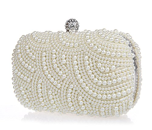 Parti Sac Sac FZHLY Cosmétique Exquis Femmes Nuptiale Beige Mini Perle Dîner Perlé Embrayage Sac Sac xnfT8n